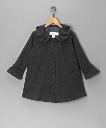 Gray Polar Fleece Swing Coat - Toddler & Girls