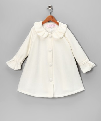 Off-White Polar Fleece Swing Coat - Infant & Girls
