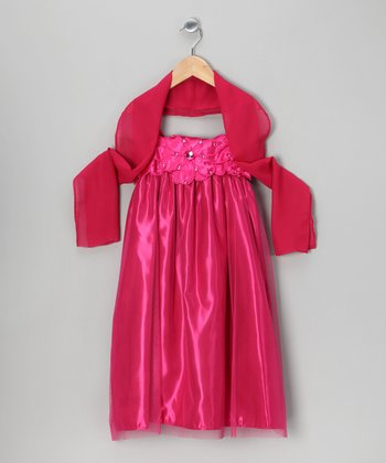 Fuchsia Babydoll Dress & Shawl - Toddler & Girls