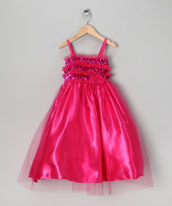 Fuchsia Sequin Dress - Toddler & Girls