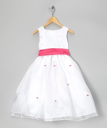 White & Fuchsia Sash Dress - Infant