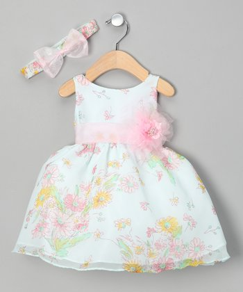 Sky Blue Floral Dress & Headband - Infant