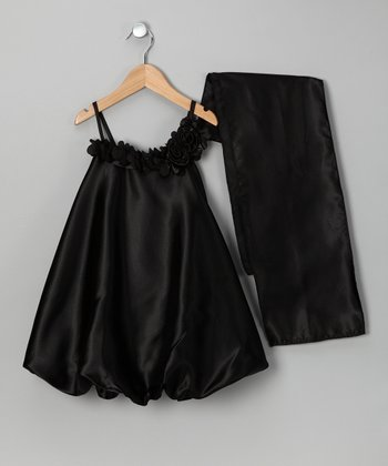 Black Satin Bubble Dress & Shawl - Girls
