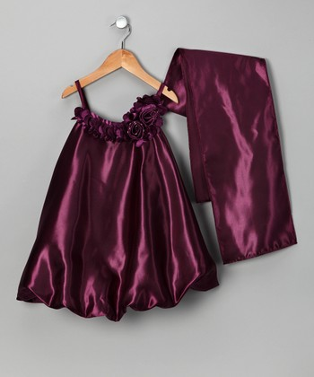 Plum Satin Bubble Dress & Shawl - Toddler & Girls