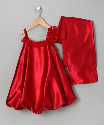 Red Satin Bubble Dress & Shawl - Toddler & Girls