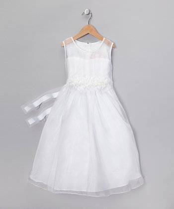 White Flower Organza Dress - Toddler