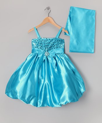Turquoise Sequin Bow Dress & Shawl - Toddler & Girls