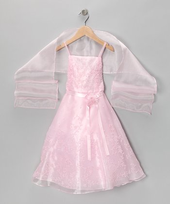 Pink Organza Dress & Shawl - Girls