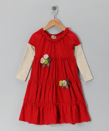 Crimson Rosette Layered Dress - Infant