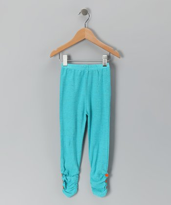 Turquoise Ruched Leggings - Infant, Toddler & Girls