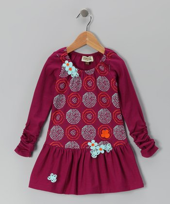 Burgundy Circle Birdie Dress - Infant & Toddler