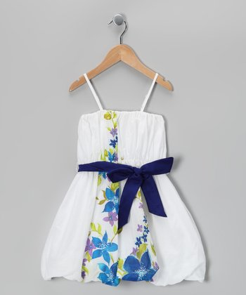 White & Blue Floral April Dress - Toddler & Girls