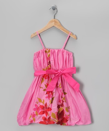 Pink Floral Bow Dress - Infant, Toddler & Girls