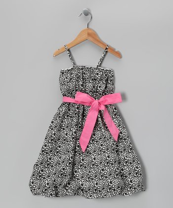 Black & Watermelon Bow Dress - Toddler & Girls