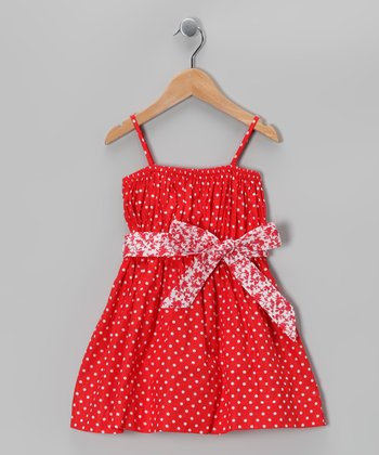 Red Polka Dot Bow Dress - Toddler & Girls
