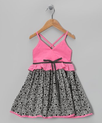 Black & Watermelon Xenia Dress - Toddler & Girls
