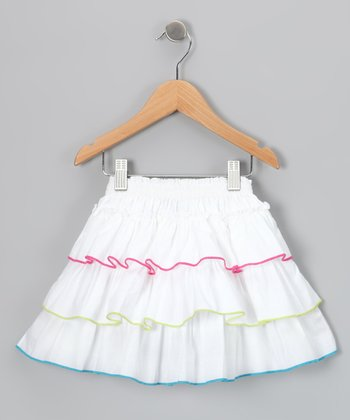 White & Pink Ruffle Skirt - Infant, Toddler & Girls