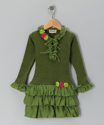 Olive Ruffle Drop-Waist Dress - Toddler & Girls