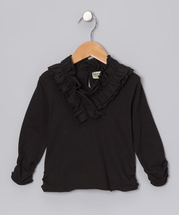 Black Anne Ruffle Top - Girls