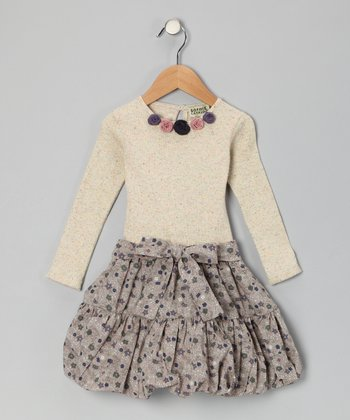 Beige & Gray Rosette Bubble Dress - Toddler & Girls