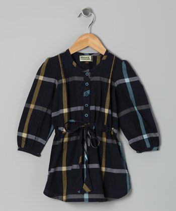Navy Plaid Shirt Dress - Toddler & Girls