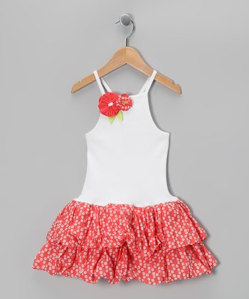 White & Coral Cerise Floral Dress - Infant, Toddler & Girls