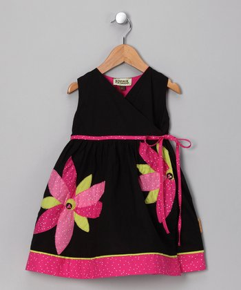 Black & Pink Flower Claire Dress - Infant, Toddler & Girls
