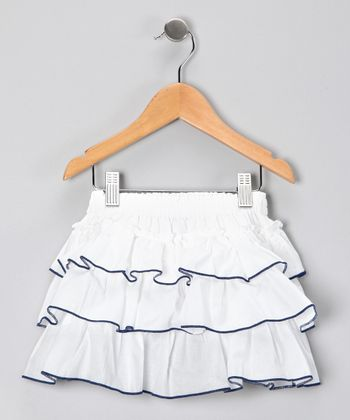 White & Navy Ruffle Skirt - Infant, Toddler & Girls
