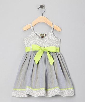 Gray & Lime Pop Heleina Dress - Girls