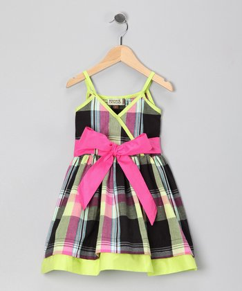 Black & Lime Plaid Lydia Dress - Toddler & Girls