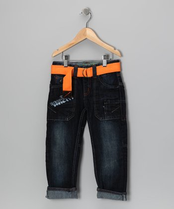 Dark Denim Worker Jeans & Belt - Toddler & Boys