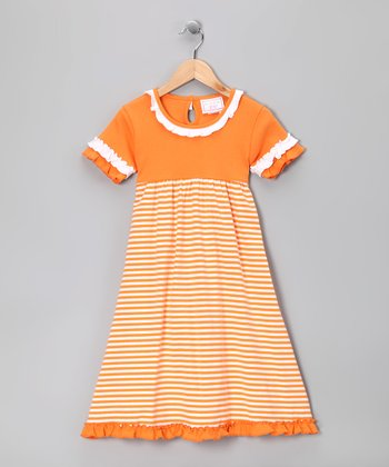 Orange & White Stripe Ruffle Gameday Dress - Toddler & Girls
