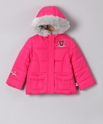 Southpole Pink Faux Fur Puffer Coat - Infant & Toddler