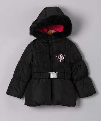 Black Faux Fur Puffer Coat - Infant & Toddler