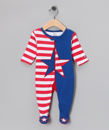 Red & Blue Americana Footie - Infant