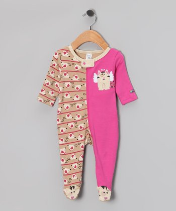 Brown & Pink Angel Kitty Footie - Infant