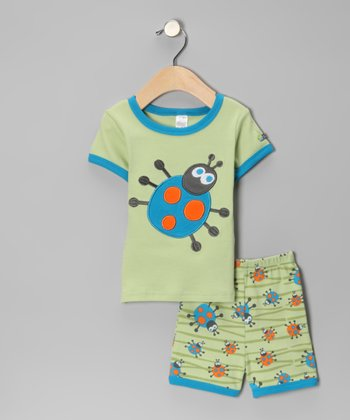 Green & Blue Bug Tee & Shorts - Infant