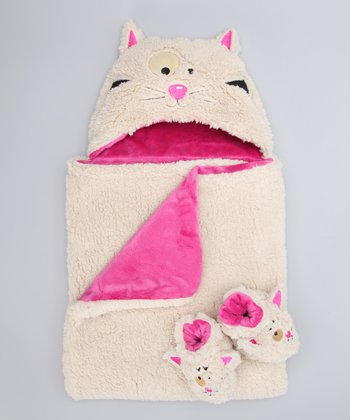 White Kitty Hooded Blanket & Booties