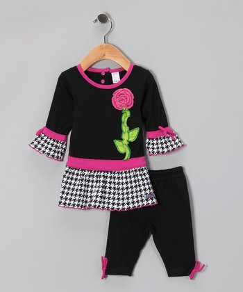 Black English Rose Tunic & Leggings - Infant