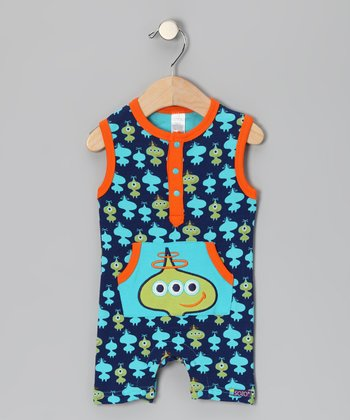 Navy & Orange Little Spacemen Romper - Infant