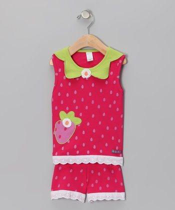 Pink Strawberry Tank & Shorts - Infant & Toddler