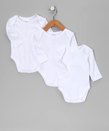 White Long-Sleeve Bodysuit Set