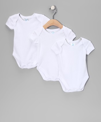 White Short-Sleeve Bodysuit Set
