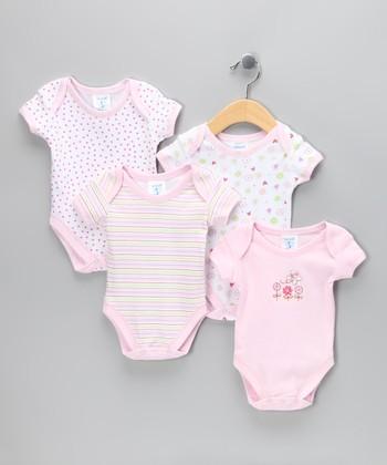 SpaSilk Pink Flower Bodysuit Set