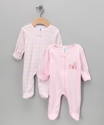Pink Stripe Footie Set