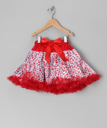 Red & Blue Heart Bow Pettiskirt - Toddler & Girls