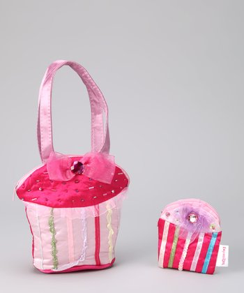 Pink Beaded Cupcake Purse & Coin Purse