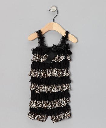 Black Leopard Ruffle Romper - Toddler