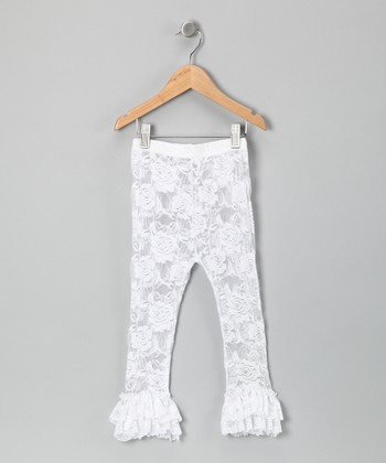 White Lace Ruffle Leggings - Infant, Toddler & Girls