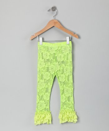 Lime Lace Ruffle Leggings - Infant, Toddler & Girls